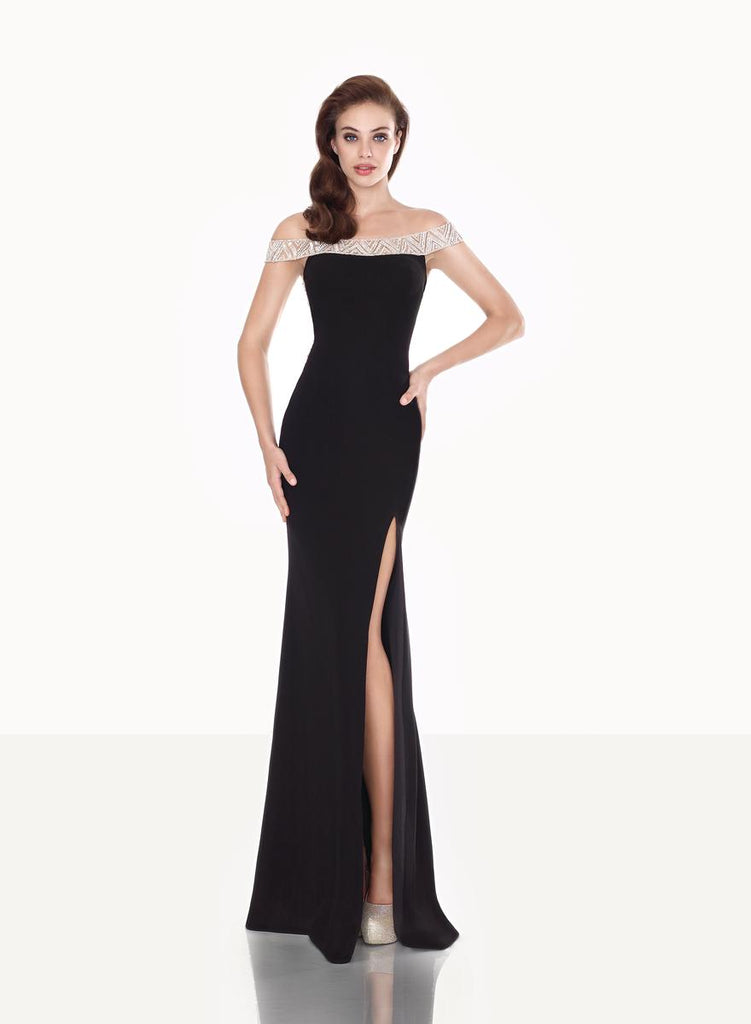 Tarik Ediz 92672 Lycra Crepe Slit Dress