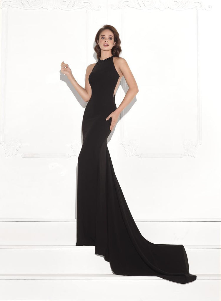 Tarik Ediz 92742 Beaded Sheer Back Dress