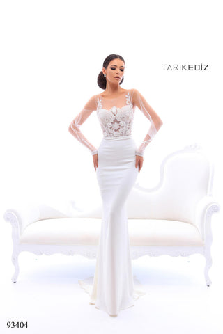Tarik Ediz 93404 Embellished Long Sleeves Dress