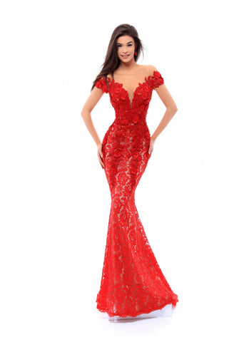 Tarik Ediz 93430  Fitted Lace Dress