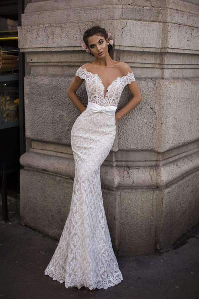Tarik Ediz 93606 Off The Shoulder Beaded Bridal Dress