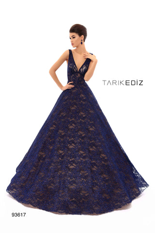Tarik Ediz 93617 V-Neck Beaded Dress