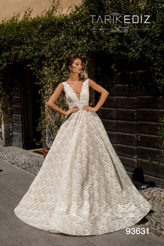 Tarik Ediz 93631 V-Neck Beaded Bridal Dress