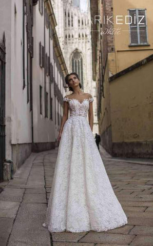 Tarik Ediz 93644  Cap Sleeved Long  Bridal Dress
