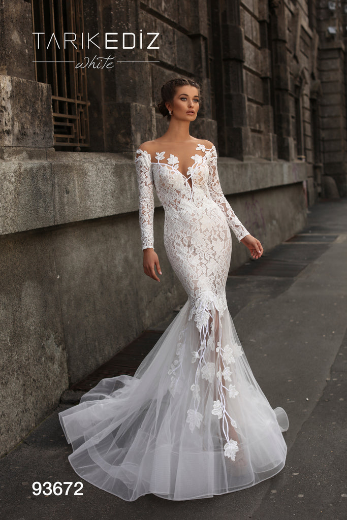 Tarik Ediz 93672 Long Sleeve Lace Bridal Dress