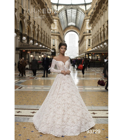 Tarik Ediz 93729 Off The Shoulder Lace Bridal Dress