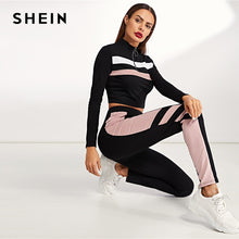SHEIN Colorblock Black Zip Front Striped Slim Fit Sweatshirt and Pants Set Crop Top Autumn Casual Sporting Women Two Piece Sets