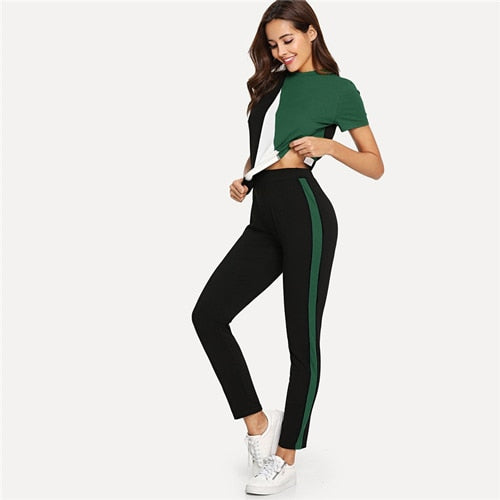 SHEIN Sporting Pullover Pants Set Casual Round Collar Short Sleeve Twopiece Women Summer Two Piece Set Top and Pants