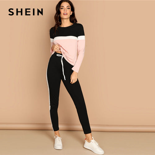 SHEIN Athleisure Color-Block Top and Drawstring Waist Side Panel Pants Women Two Piece Set Spring Sporting Casual Two Piece Sets
