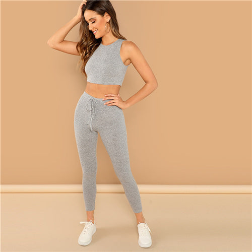 SHEIN Grey Heathered Knit Crop Tank Top and Drawstring Waist Leggings Set Women Spring Skinny Sporting Workout Two Piece Sets