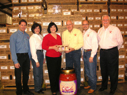 Val Renfro receive year's supply of Mrs. Renfro's Salsa