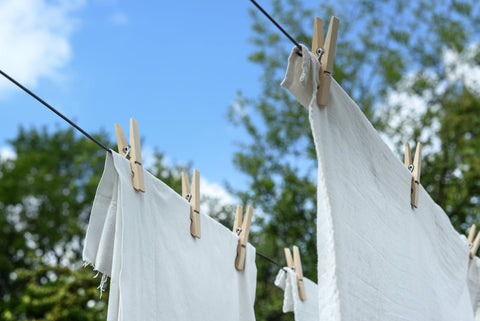 White sheets put for drying
