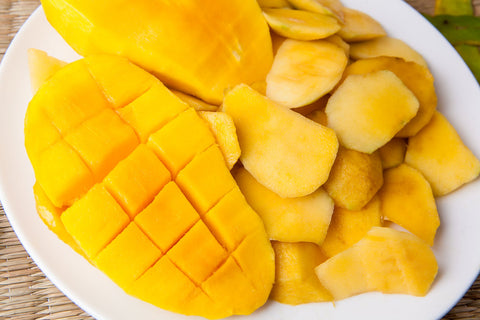 A plate with cut Mango slices