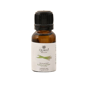 Qurez Lemongrass Essential oil, with dropper, 100% Pure and Vegan, 15 ml