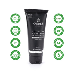 Qurez Activated Charcoal Scrub Mask with Tea Tree, Vitamin C, Paraben Free, 100g