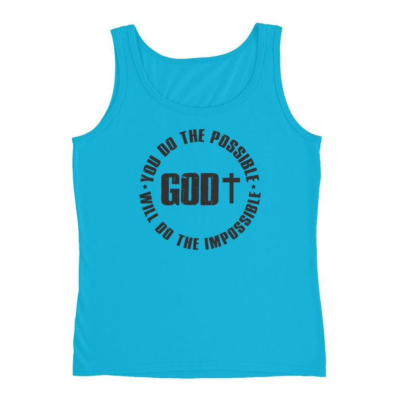 Women Christian tank top, God Does the Impossible design - Mirela's Tshirts