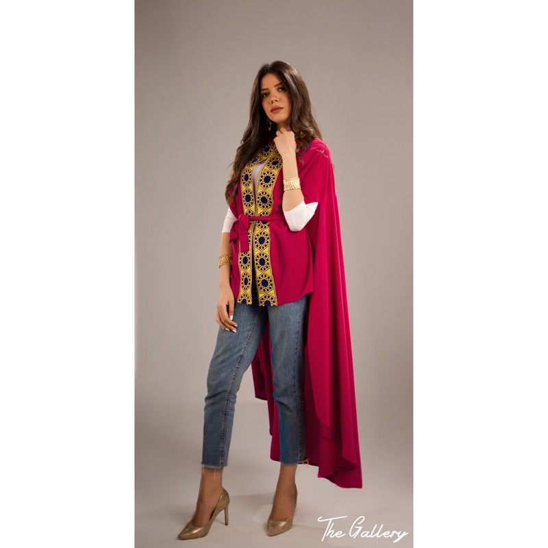 Fushia high low cape