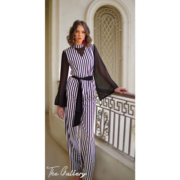 Striped crepe jumpsuit