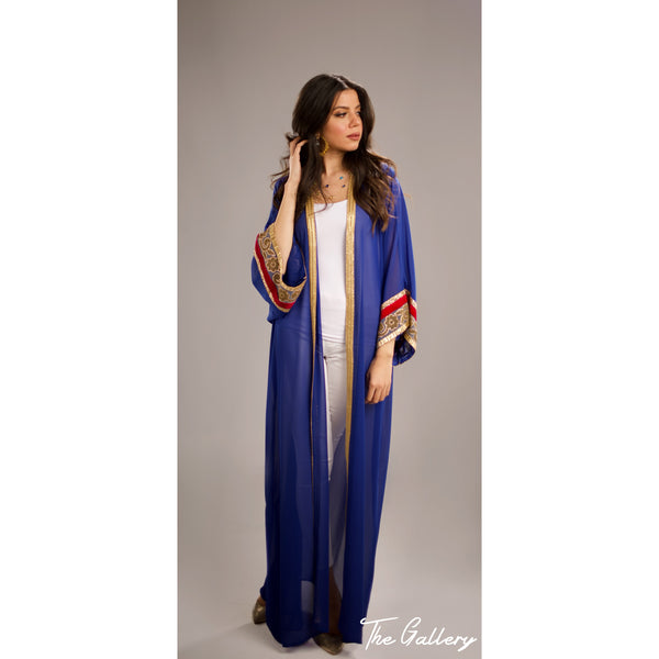 Blue chiffon Indian abaya