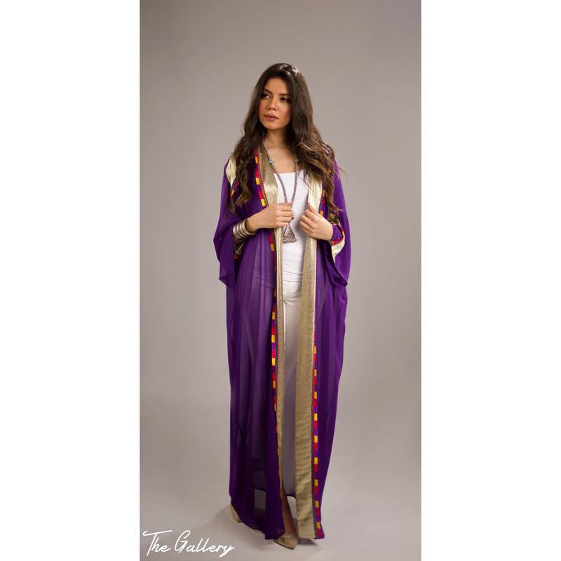Colorful chiffon & metallic abaya