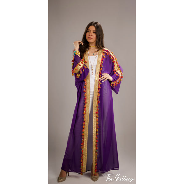 Chiffon colorful tassel abaya