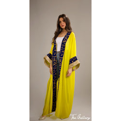Yellow phosphoric Arabic calligraphy kaftan