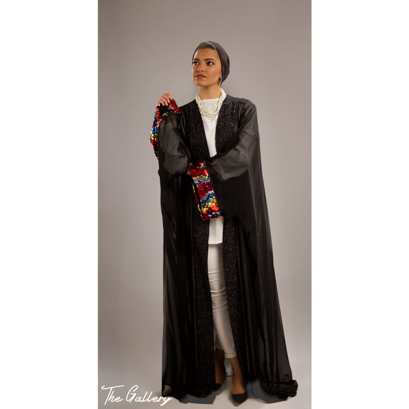 Black multicolored sequin sleeve abaya