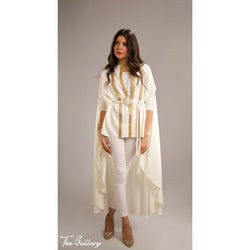 High neck off white Indian cape