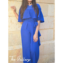 Half sleeved ruffle jumpsuit