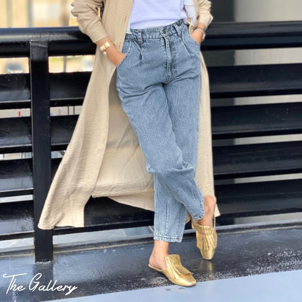 High waist mom fit denim pants