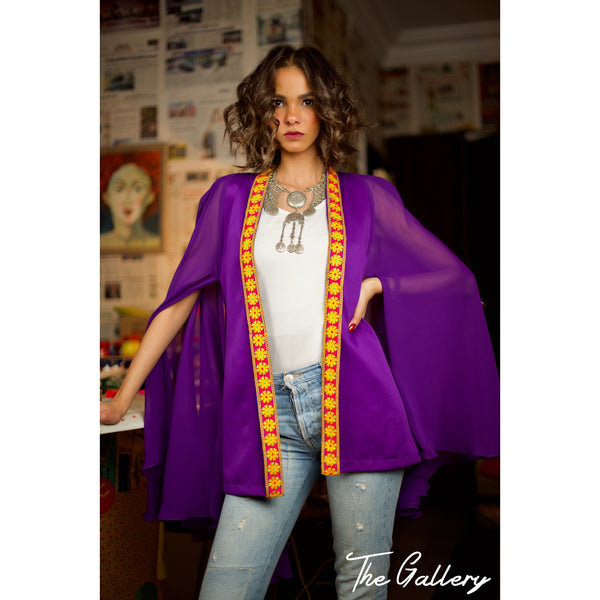 indian purple cape blazer