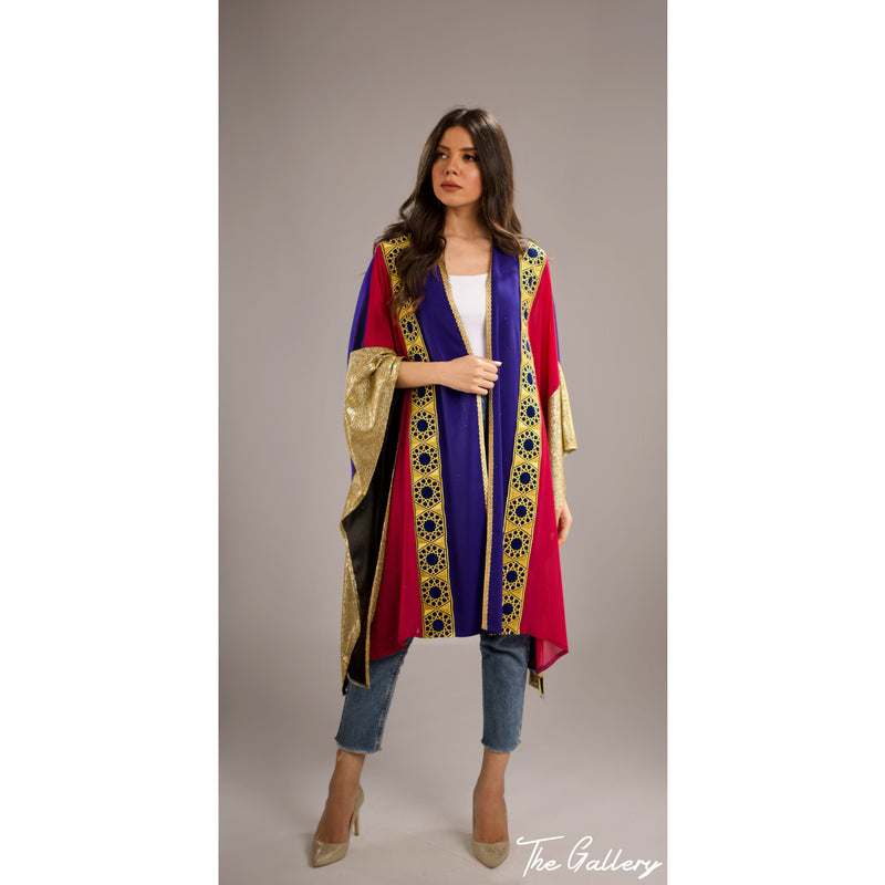 Fushia & Blue Islamic cardigan