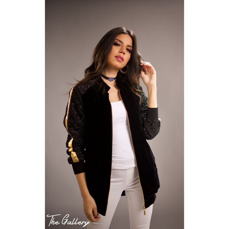 Long Velvet bomber jacket