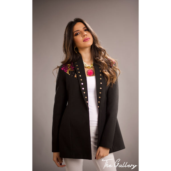 Shawl collar Sequin wool blazer