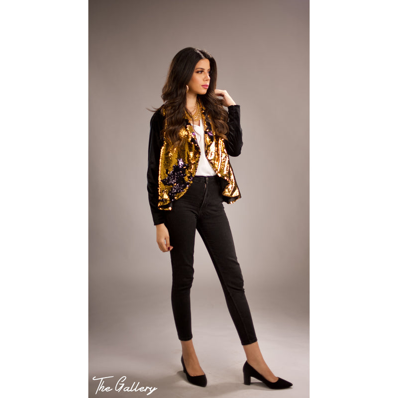 Sequin velvet cardigan