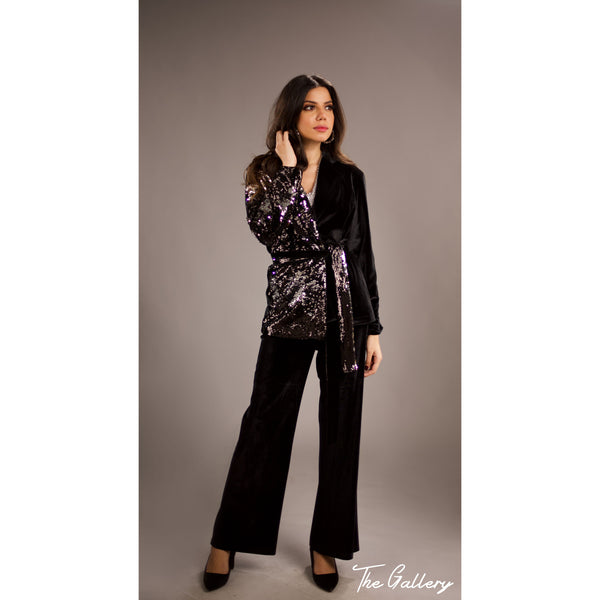 Sequin side velvet blazer