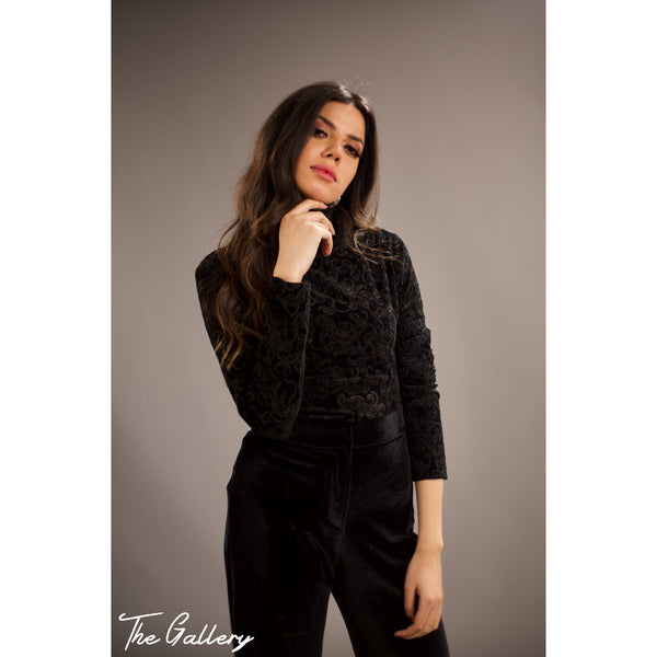 Embossed velvet blouse