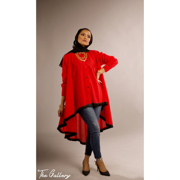 High low red blouse