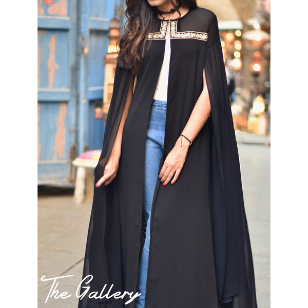 Black cape long kaftan