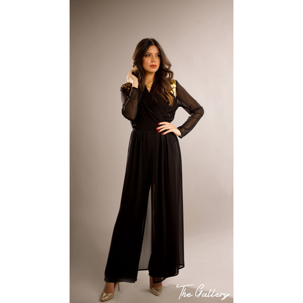 Gold sequin black jumpsuit