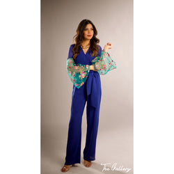 Blue floral jumpsuit
