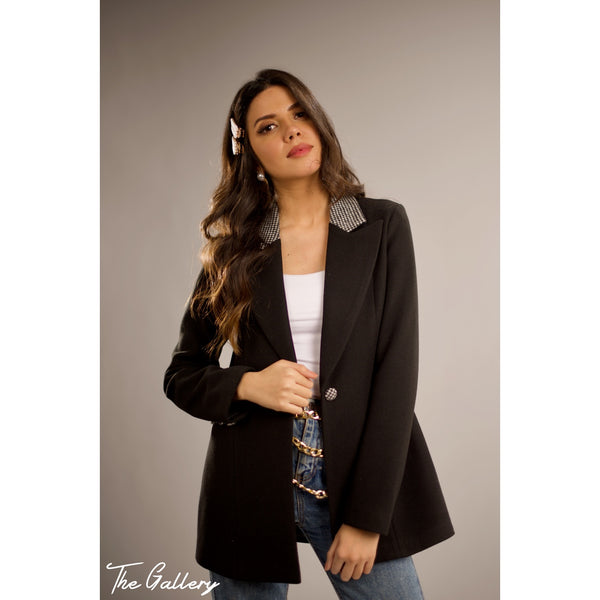 Black houndstooth notched collar blazer