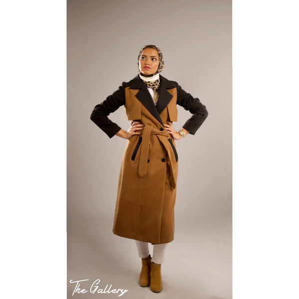 Black camel trench coat