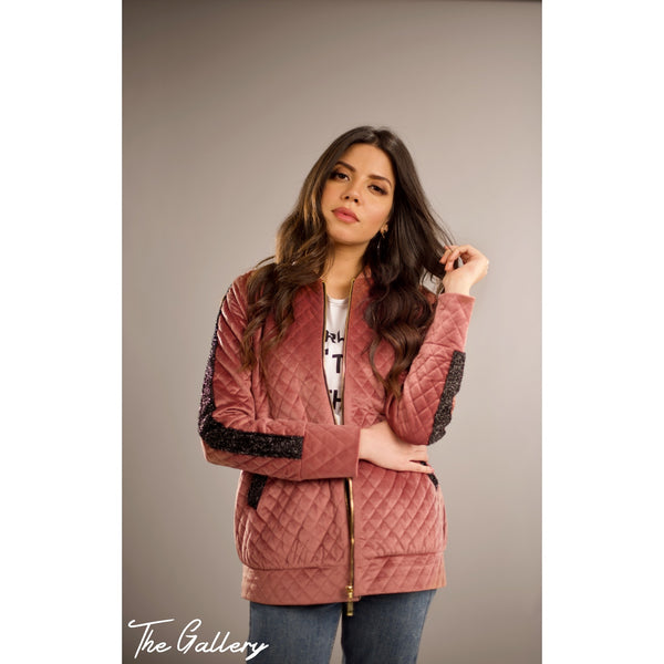 Rose quilted velvet bomber jacket