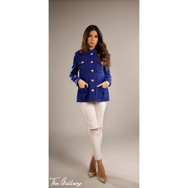 blue button pocket jacket