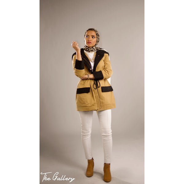 Light camel hooded jacket