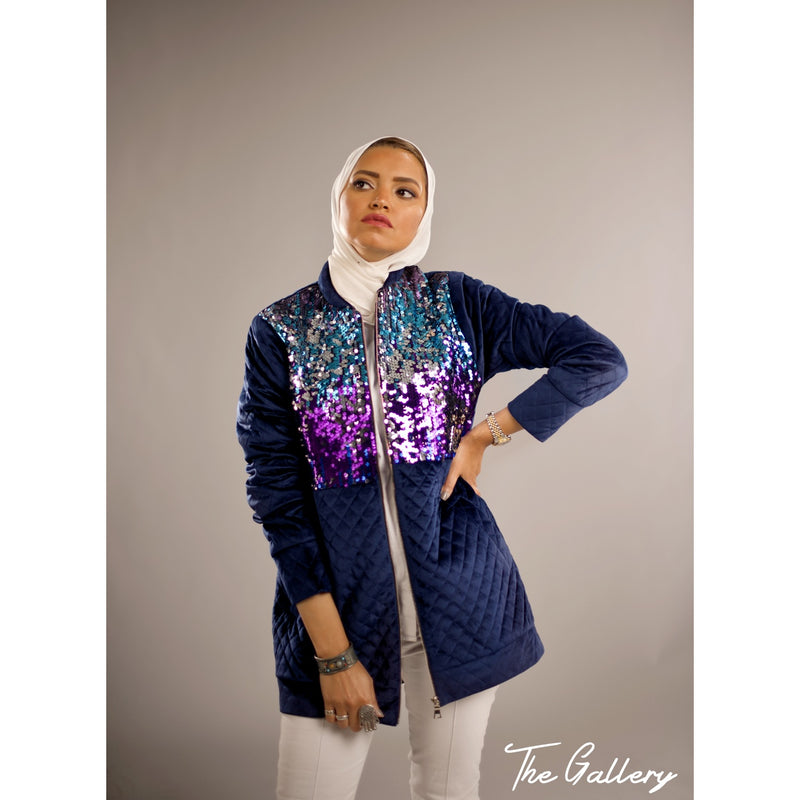 Dark blue bomber velvet sequin jacket