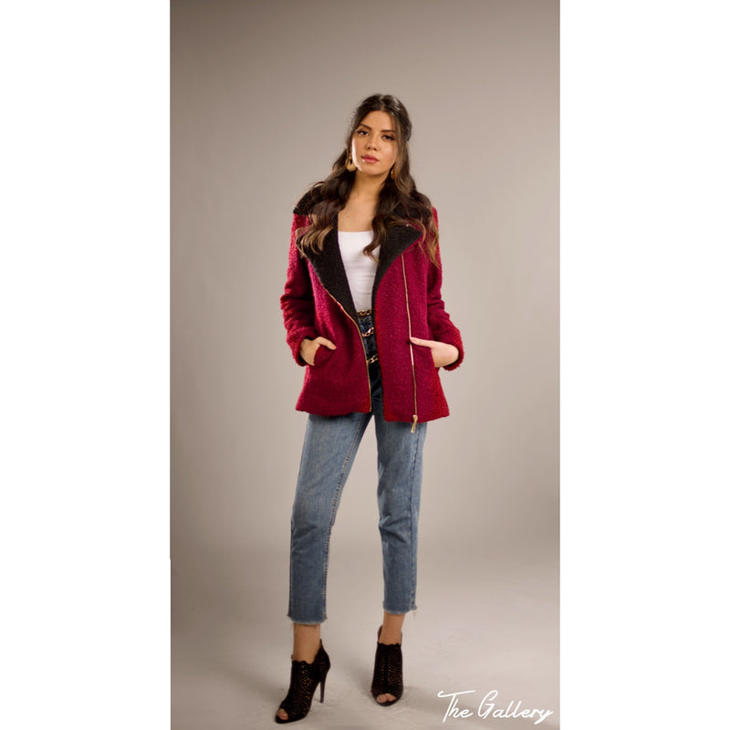 Burgundy Faux shearling jacket