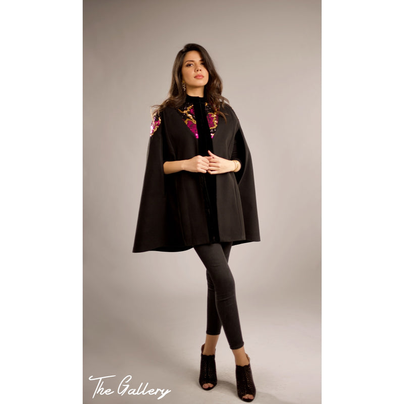 Black sequin cape
