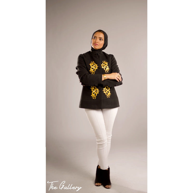 Golden embroidered short jacket